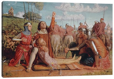 Rienzi Vowing to Obtain Justice for the Death of his Young Brother, Slain in a Skirmish between the Colonna & Orsini Factions Canvas Art Print