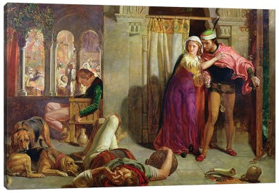 The Eve of St. Agnes, or The Flight of Madelaine and Porphyro during the Drunkenness attending the Revelry, 1848  Canvas Art Print