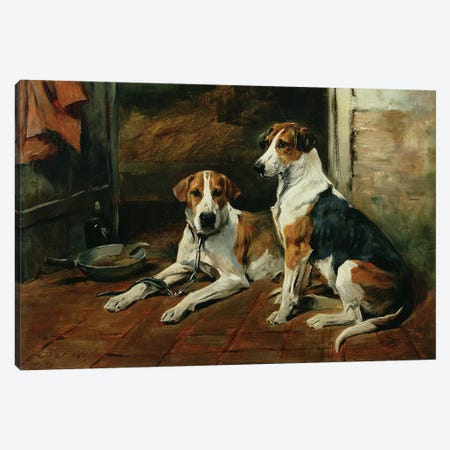 Hounds in a Stable Interior Canvas Print #BMN835} by John Emms Canvas Art