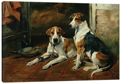 Hounds in a Stable Interior Canvas Art Print