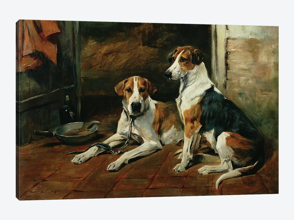 Hounds in a Stable Interior by John Emms 1-piece Canvas Art