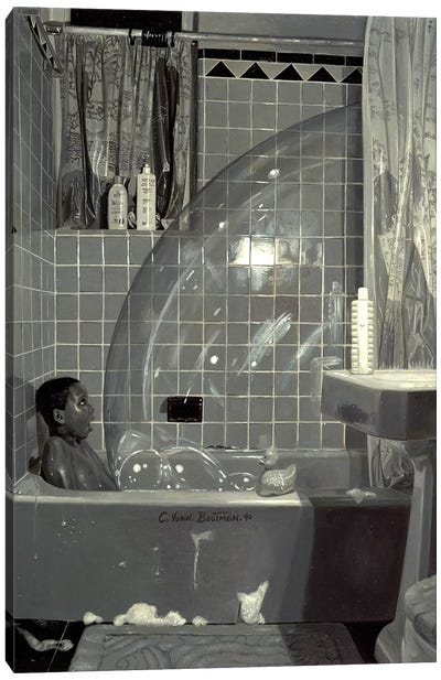 Boy and the Bubble, 1990  Canvas Art Print