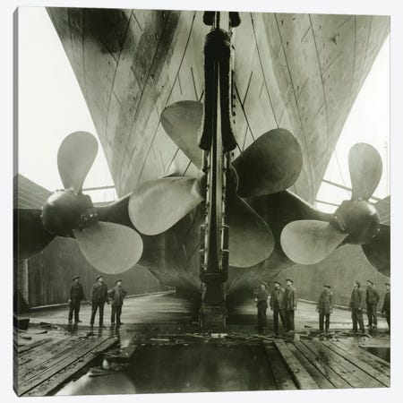 The Titanic's propellers in the Thompson Graving Dock of Harland & Wolff, Belfast, Ireland, 1910-11  Canvas Print #BMN8378} by English Photographer Canvas Artwork