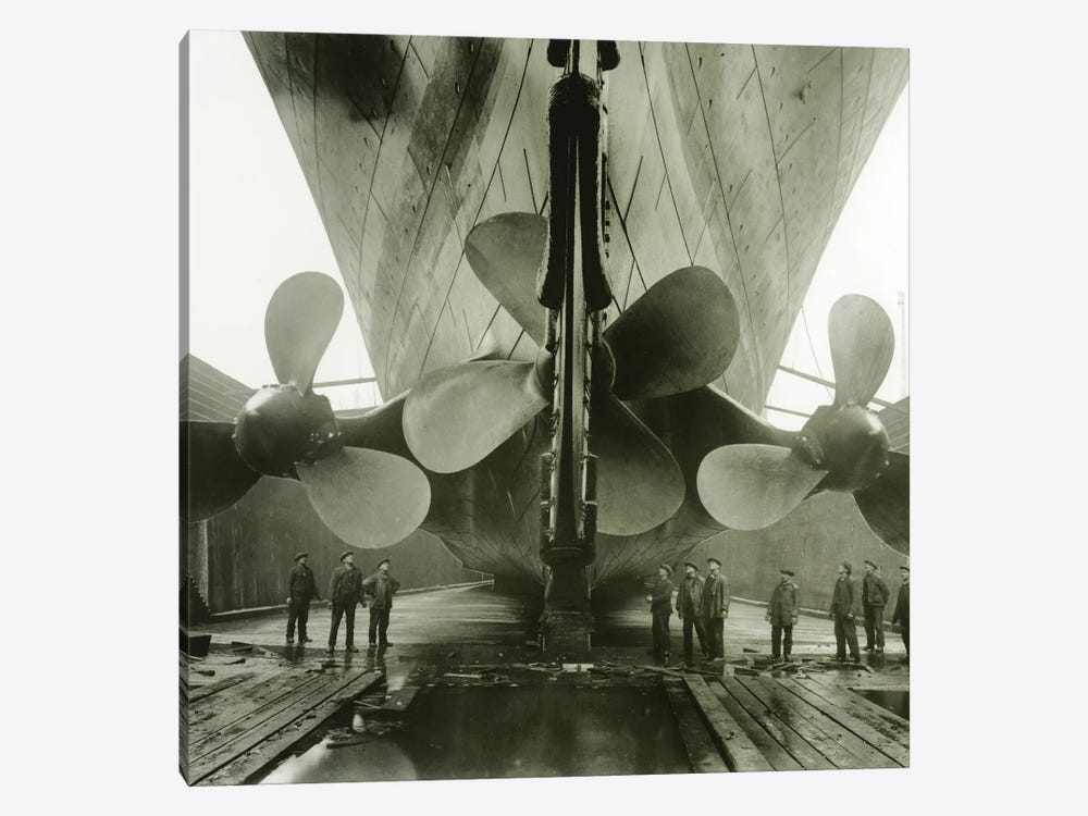 The Titanic's propellers in the Thompson Graving Dock of Harland & Wolff, Belfast, Ireland, 1910-11  by English Photographer 1-piece Canvas Art Print