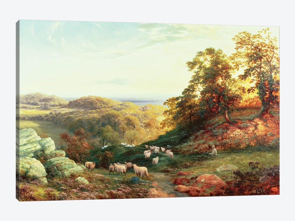 Watching the Flock by George Vicat Cole 1-piece Canvas Wall Art