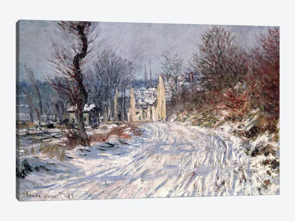 The Road to Giverny, Winter, 1885 by Claude Monet 1-piece Canvas Print