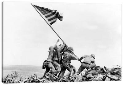 Raising the Flag on Iwo Jima, February 23, 1945 Canvas Art Print