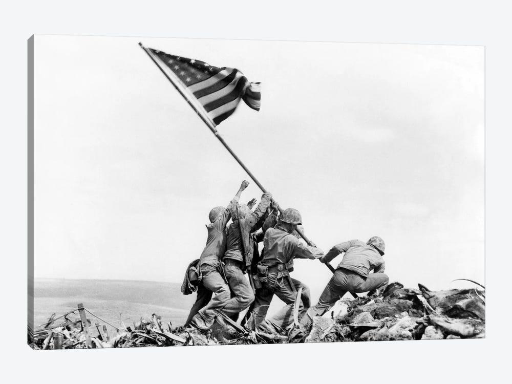 Raising the Flag on Iwo Jima, February 23, 1945 by Joe Rosenthal 1-piece Canvas Wall Art