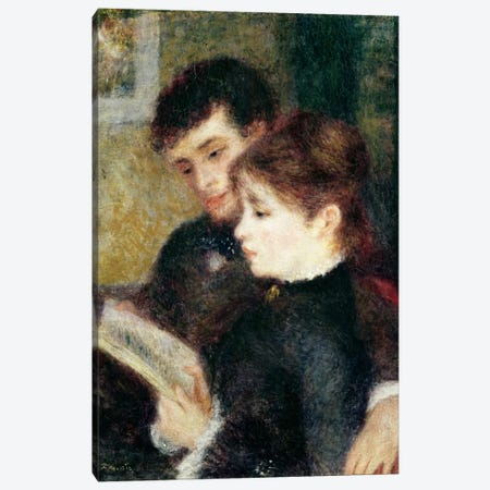 Couple Reading  Canvas Print #BMN843} by Pierre-Auguste Renoir Canvas Art