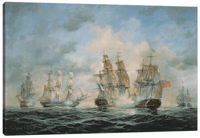 19th Century Naval Engagement in Home Waters Canvas Art Print