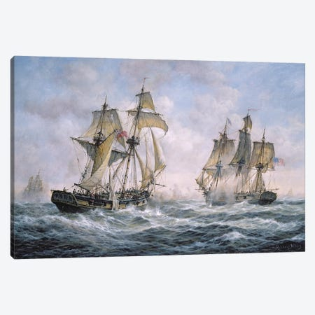 "Action Between U.S. Sloop-of-War ""Wasp"" and H.M. Brig-of-War ""Frolic"", 1812 Canvas Print #BMN8468} by Richard Willis Canvas Art"