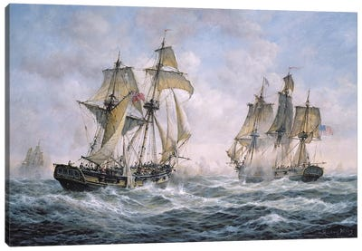"Action Between U.S. Sloop-of-War ""Wasp"" and H.M. Brig-of-War ""Frolic"", 1812 Canvas Art Print"
