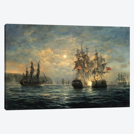 "Engagement Between the ""Bonhomme Richard"" and the ""Serapis"" off Flamborough Head, 1779 Canvas Print #BMN8469} by Richard Willis Canvas Art"