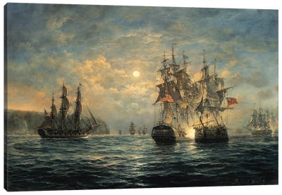 "Engagement Between the ""Bonhomme Richard"" and the ""Serapis"" off Flamborough Head, 1779 Canvas Art Print"