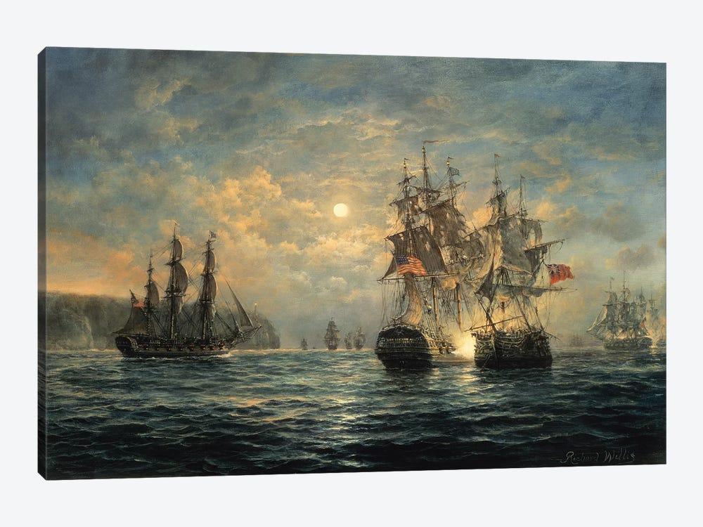 "Engagement Between the ""Bonhomme Richard"" and the ""Serapis"" off Flamborough Head, 1779 by Richard Willis 1-piece Canvas Art"