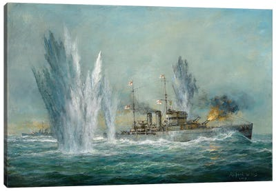 HMS Exeter engaging in the Graf Spree at the Battle of the River Plate, 2009  Canvas Art Print