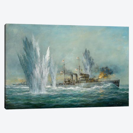 HMS Exeter Engaging In The Gaf Spree At The Battle Of The River Plate, 2009  Canvas Print #BMN8472} by Richard Willis Art Print