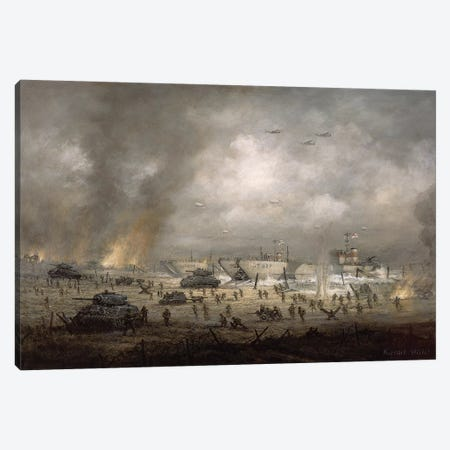 The Tanks Go In', Sword Beach  Canvas Print #BMN8474} by Richard Willis Canvas Wall Art