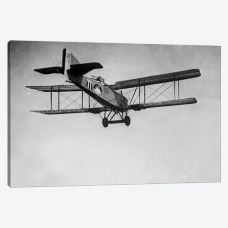 A view from below of a Breguet 14, a French observation plane that could also be used as a light bomber, France, 1918 3-Piece Canvas #BMN8487} by Rue Des Archives Canvas Art Print