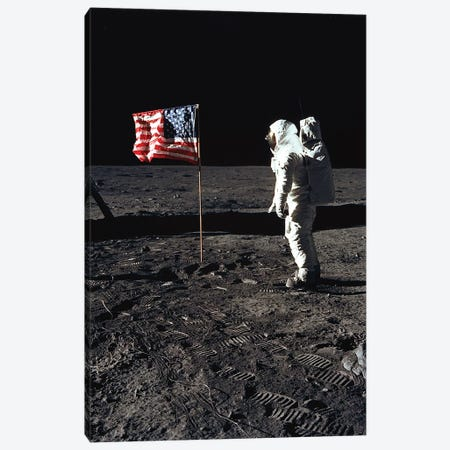 """American Astronaut Edwin """"Buzz"""" Aldrin walking on the moon on July 20, 1969 during Apollo 11 mission Canvas Print #BMN8493} by Rue Des Archives Art Print"""