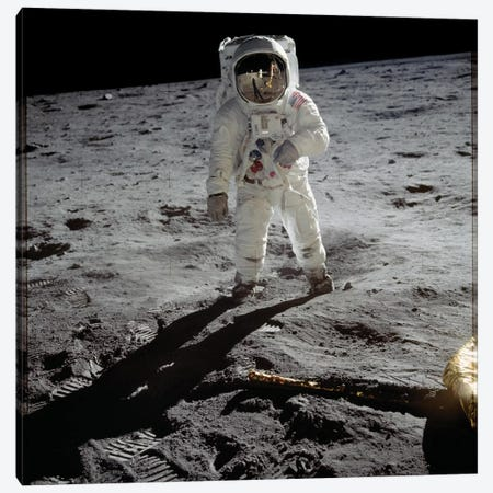 Astronaut Edwin 'Buzz' Aldrin standing on the moon after the Apollo 11 landing, 20 July 1969  Canvas Print #BMN8498} by Rue Des Archives Canvas Print