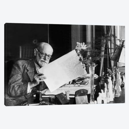 Austrian psychoanalyst Sigmund Freud  c. 1937 in his office in Vienna Canvas Print #BMN8501} by Rue Des Archives Canvas Print