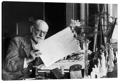 Austrian psychoanalyst Sigmund Freud  c. 1937 in his office in Vienna Canvas Art Print