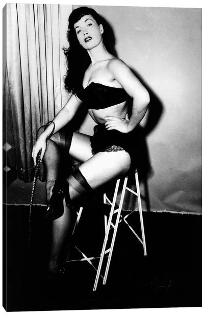Bettie Page, American model and pin up, c. 1955 Canvas Art Print