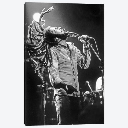 Bob Marley in Reggae concert at Roxy, Los Angeles on May 26, 1976 Canvas Print #BMN8508} by Rue Des Archives Canvas Print