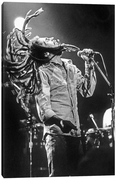 Bob Marley in Reggae concert at Roxy, Los Angeles on May 26, 1976 Canvas Art Print