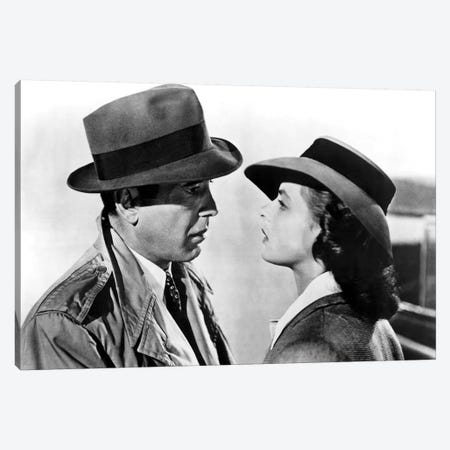 Casablanca With Ingrid Bergman And Humphrey Bogart  1943 Oscar Outstanding Motion Picture Canvas Print #BMN8511} by Rue Des Archives Canvas Wall Art