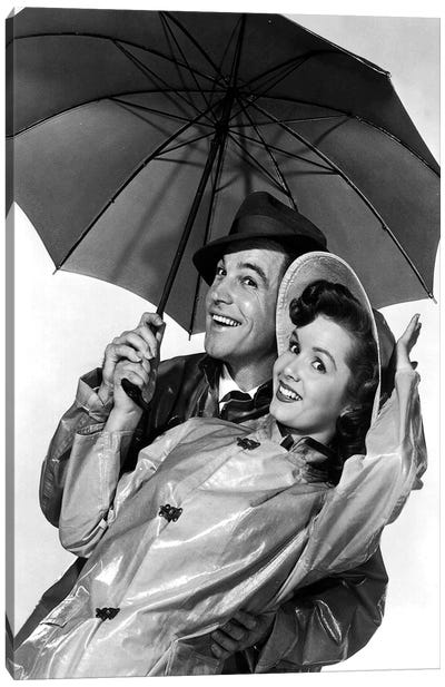 Singing In The Rain With Gene Kelly And Debbie Reynolds 1952 Canvas Art Print