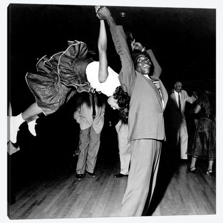 Couple dancing at Savoy Ballroom, Harlem, 1947  Canvas Print #BMN8519} by Rue Des Archives Canvas Artwork