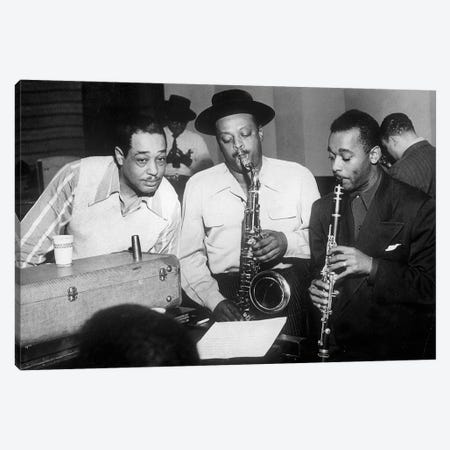 Duke Ellington with Ben Webster and Jimmy Hamilton at Carnegie Hall, 1948  Canvas Print #BMN8533} by Rue Des Archives Canvas Artwork