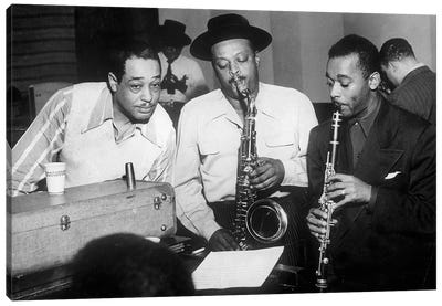 Duke Ellington with Ben Webster and Jimmy Hamilton at Carnegie Hall, 1948  Canvas Art Print