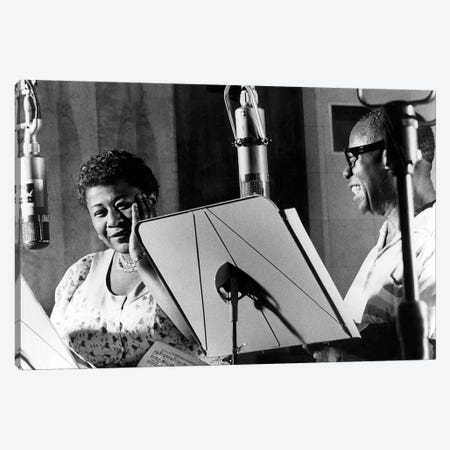 Ella Fitzgerald & Louis Armstrong at Decca Records, New York, 1950 Canvas Print #BMN8536} by Rue Des Archives Canvas Print