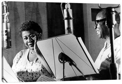 Ella Fitzgerald & Louis Armstrong at Decca Records, New York, 1950 Canvas Art Print