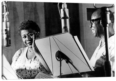 Ella Fitzgerald & Louis Armstrong at Decca Records, New York, 1950 Canvas Art Print