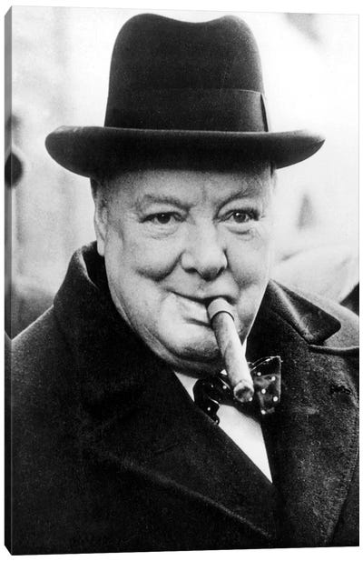 English Prime Minister Winston Churchill  in 1950 Canvas Art Print