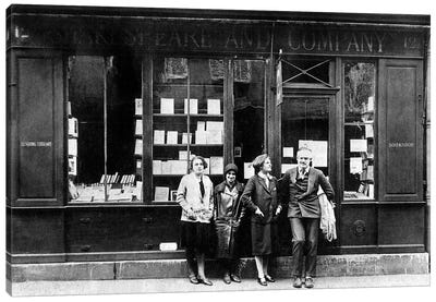 Ernest Hemingway and Sylvia Beach infront of the 'Shakespeare and Company' bookshop, Paris, 1928  Canvas Art Print