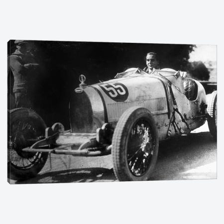 Ettore Bugatti Italian car manufacturer, 20's 3-Piece Canvas #BMN8548} by Rue Des Archives Canvas Art Print