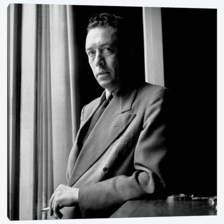 French Writer Albert Camus  at Home June 13, 1947  Canvas Print #BMN8557} by Rue Des Archives Canvas Print