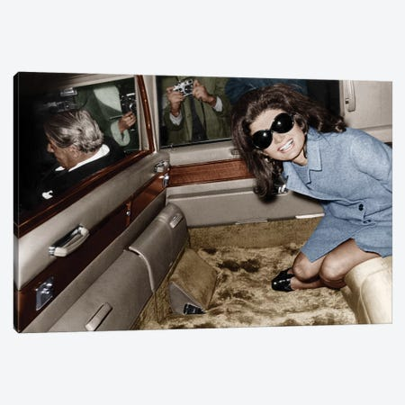 Jackie Kennedy Onassis leaving London airport, Aristotle Onassis driving, 15th November 1968  Canvas Print #BMN8573} by Rue Des Archives Canvas Art