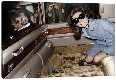 Jackie Kennedy Onassis leaving London airport, Aristotle Onassis driving, 15th November 1968  Canvas Art Print