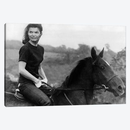 Jackie Kennedy Riding Horse in 1968  Canvas Print #BMN8574} by Rue Des Archives Art Print