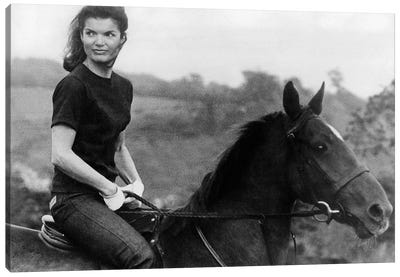 Jackie Kennedy Riding Horse in 1968  Canvas Art Print