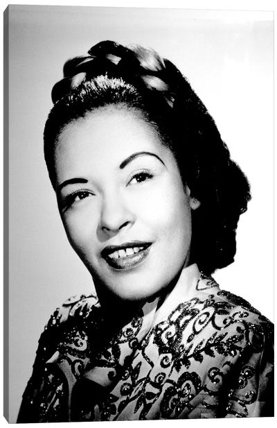 Jazz and blues Singer Billie Holiday  c. 1940 Canvas Art Print