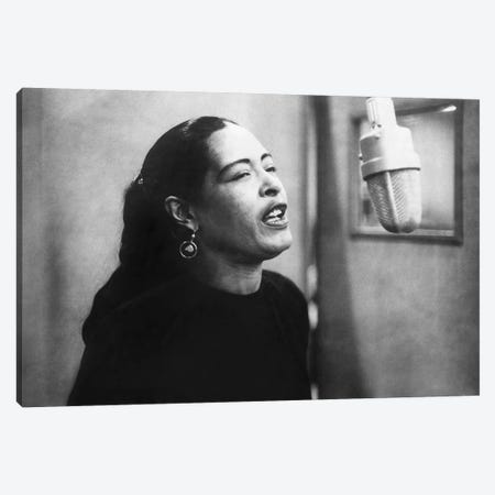 Jazz and blues Singer Billie Holiday  during recording session in 1957 Canvas Print #BMN8576} by Rue Des Archives Canvas Print
