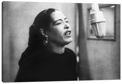 Jazz and blues Singer Billie Holiday  during recording session in 1957 Canvas Art Print