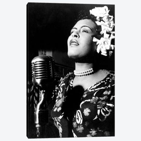 Jazz and blues Singer Billie Holiday in the 1940s  Canvas Print #BMN8578} by Rue Des Archives Canvas Wall Art